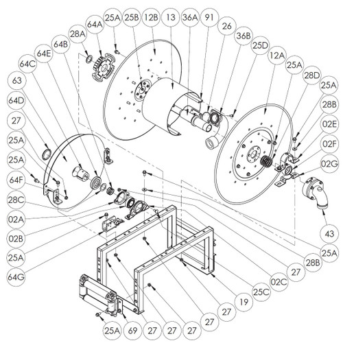 """900 Series Spring Rewind Reel Parts - 8"""" Roller Assembly - 69"""