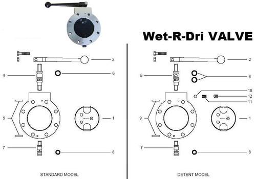 """Betts Standard & Detent Wet-R-Dri Valve Parts - 2"""" Repair Kit Viton - 1, 6, 8, 9"""