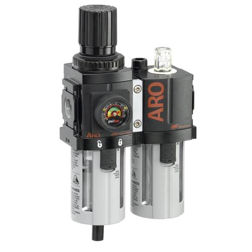 ARO 1500 Series 1/4 in. 3-Piece Combination Filter Regulator + Lubricator w/ Metal Bowl & Auto Drain