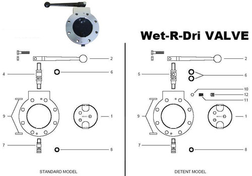 """Betts Standard & Detent Wet-R-Dri Valve Parts - 4"""" Repair Kit Viton - 1, 6, 8, 9"""