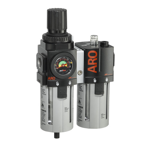 ARO 2000 Series 3/8 in. 3-Piece Combination Filter Regulator + Lubricator w/ Metal Bowl & Manual Drain
