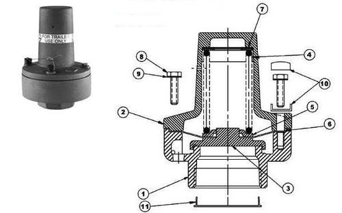 Dixon 2180 Series Air Relief Valve Parts - Repair Kit 15 PSI (+2/-0 PSI Tolerance) - 3, 4, 5, 6, 8, 9, 10