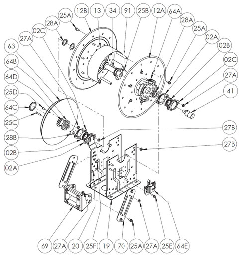 DEF Series Spring Rewind Reel Parts - Ratchet Wheel - 64A - All