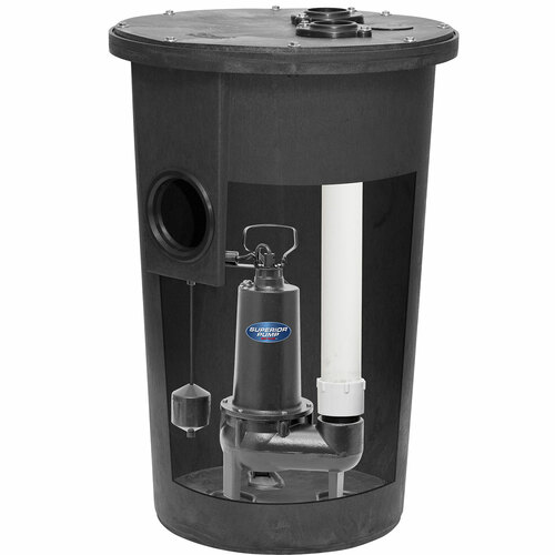 Decko 93020 1/2 HP Cast Iron Simplex Sewage Systems Pump & Basin - 80 GPM