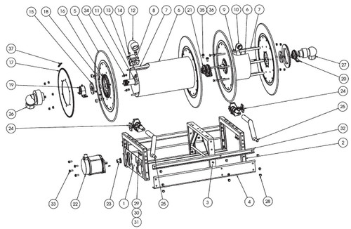 """EPBM Electric and Crank Dual Propane Reel Parts - Double 1"""" Bearing - 21"""