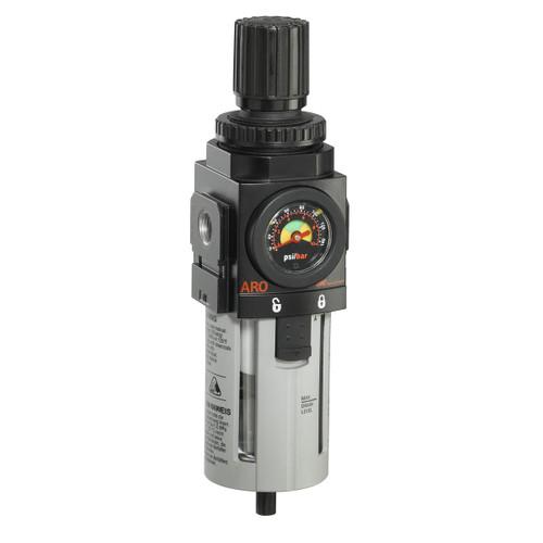 "ARO 2000 Series 3/8 in. Filter-Regulator ""Piggyback"" w/ Poly Bowl, Manual Drain & Gauge"