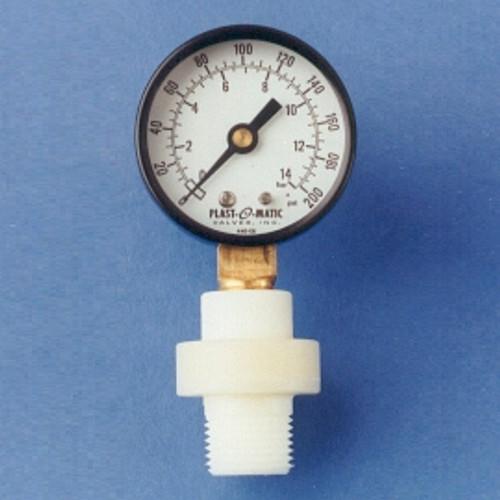 Plast-O-Matic Series GGME 1/4 in. x 1/2 in. NPT Miniature Buna-N Gauge Guard with 2 1/2 in. Face SS Pressure Gauge - 0-200 PSI