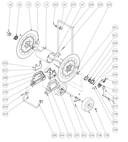 """AT Series Mobile Garden Hose Reel Parts - 1"""" Bearing Complete - 02A, 02B, 02C"""