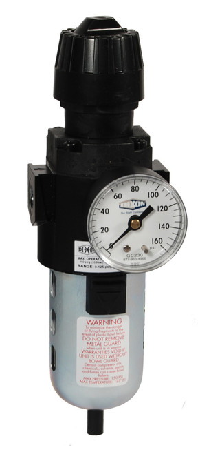 Dixon Wilkerson 1/4 in. CB6 Compact Filter/Regulator with Transparent Bowl & Guard - Auto Drain