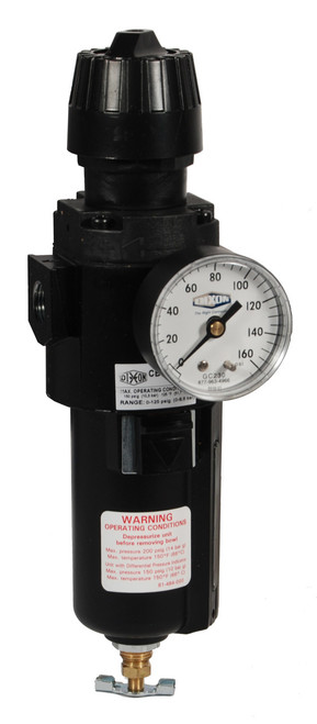 Dixon Wilkerson 3/8 in. CB6 Compact Filter/Regulator with Metal Bowl & Sight Glass - Auto Drain