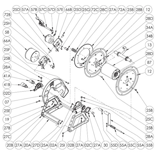 1500 Series Power or Crank Rewind Reel Parts - Hand Crank - 55A, 55B, 55C