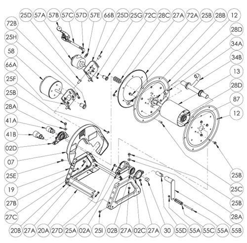 1500 Series Power or Crank Rewind Reel Parts - 12V DC 1/12 HP Motor - 58