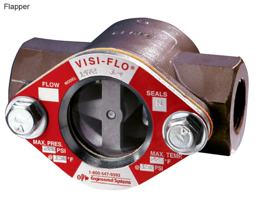 OPW 1/2 in. Carbon Steel VISI-FLO 1400 Series High Pressure Threaded Sight Flow Indicators w/ Flapper