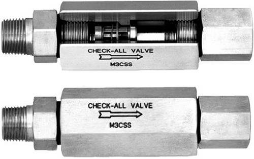 Check-All Valve Mini-Check 316 Stainless Steel Check Valves - 1/8 in. - Female NPT - Male NPT