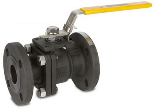 Sharpe Carbon Steel Full Port Locking Ball Valve - 150 lbs Flanged Ends - 1 1/2 in.