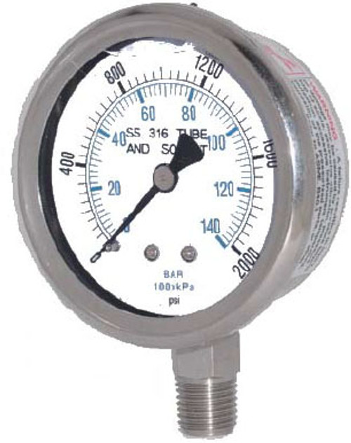 "Kodiak Stainless Steel Liquid Filled Pressure Gauges - 2 1/2"" Dial"