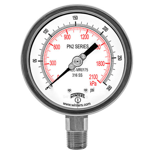 Winters 4 in. NACE Liquid Filled Gauges for Sour Gas