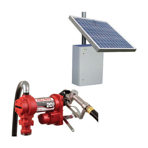 Fill-Rite FR4210H 12V DC Transfer Pump Assembly With Tycon RemotePro Outdoor Solar Power System - 20 GPM