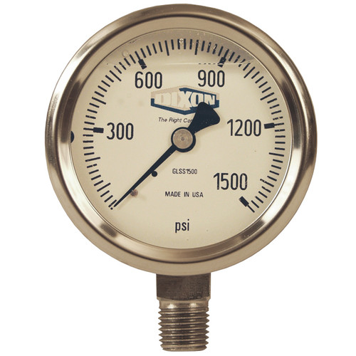 Dixon 2 1/2 in. Face 1/4 in. NPT Lower Mount All Stainless Liquid Filled Gauges