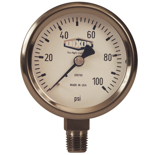 Dixon 2 1/2 in. Face Lower Mount Stainless Steel Dry Gauges