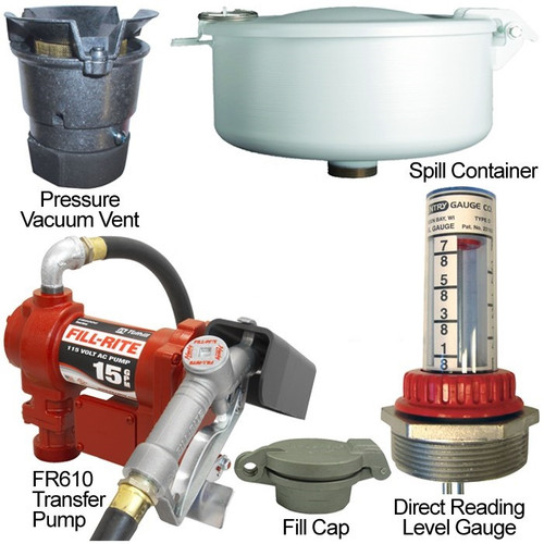 15 GPM Pump & Gas Vent Kit For 300 Gal. x 38 in. Single Wall Skid Tank