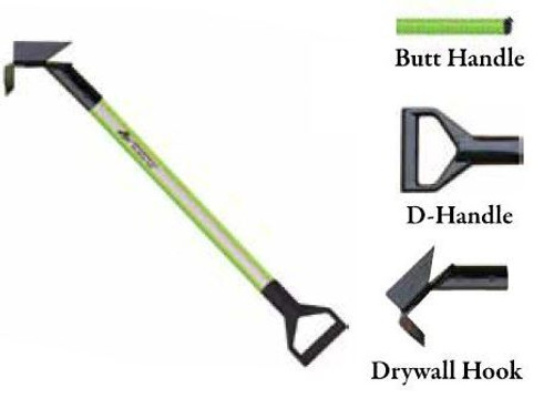 Leatherhead Tools 4 ft. Dog-Bone Drywall Hook w/D-Handle - Lime