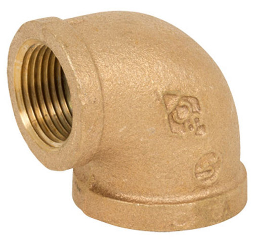 Smith Cooper 125# Bronze Lead-Free 1 1/2 in. 90° Elbow Fitting - Threaded