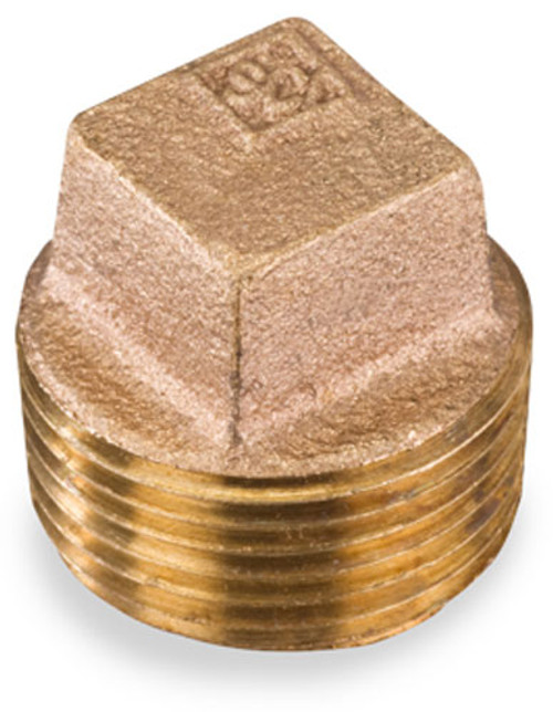 Smith Cooper 125# Bronze Lead-Free 1 1/2 in. Square Head Solid Plug Fitting - Threaded