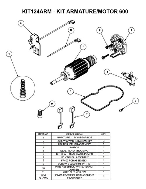 fill rite replacement armature kits for fr600 series pumps ac and dc \