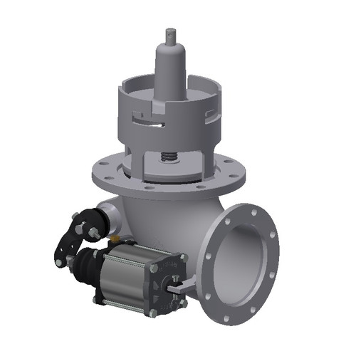 Betts 4 in. Flat Seat Aluminum Emergency Valve w/ Air Cylinder - Air Operated