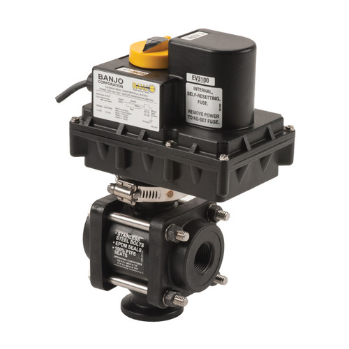 Banjo 3/4 in. - 2 in. 3-Way Bottom Load ON/OFF Electric Ball Valve - 3/4 to 1 1/4 Second Response Time