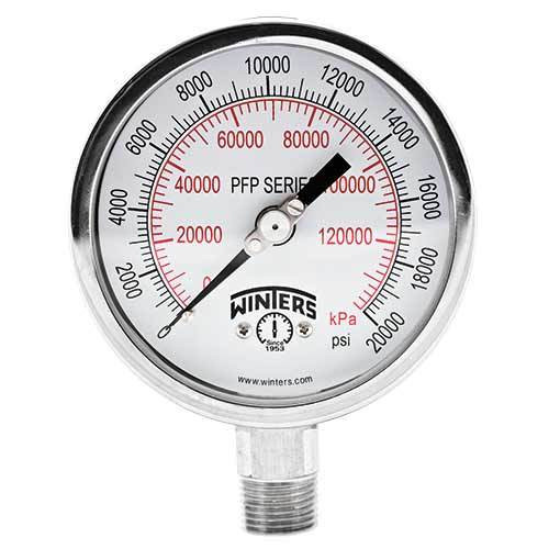 Winters PFP Series 2 1/2 in. Premium Stainless Steel Liquid Filled Gauge w/ 1/4 in. Back Mount