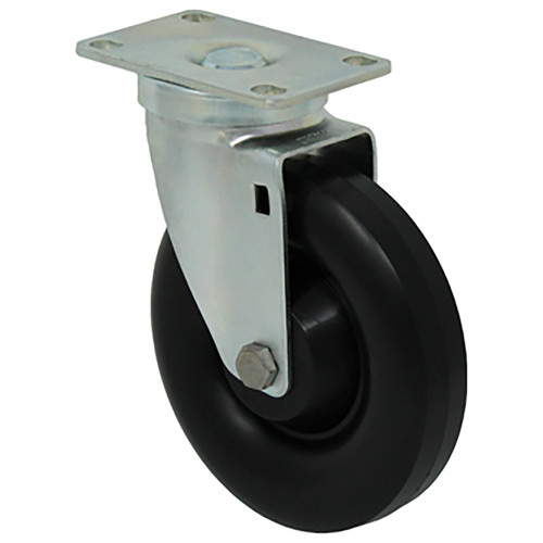 Durable Superior 5 in.  x 1 1/4 in. Light-Medium Duty Swivel Caster, Black Polyolefin w/Dust Cover, Plate Mount