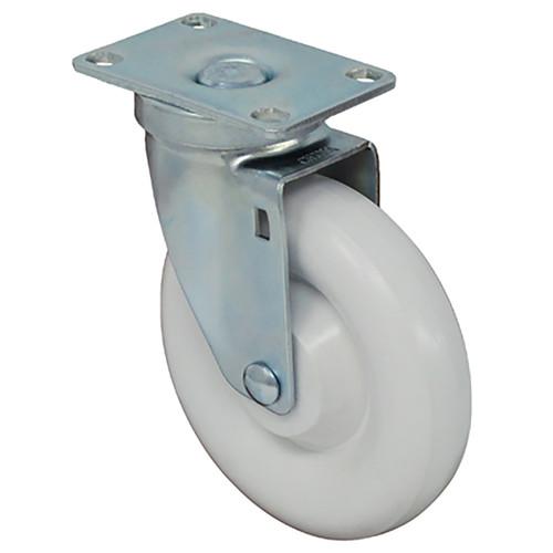 "5 x 1 1/4"" Light-Medium Duty Swivel Caster, White Polyolefin w/Dust Cover, Plate Mount"