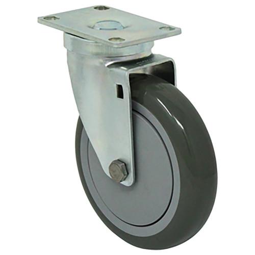 "5 x 1 1/4"" Light-Medium Duty Swivel Caster, Gray Poly -Pro™ w/Dust Cover, Plate Mount"
