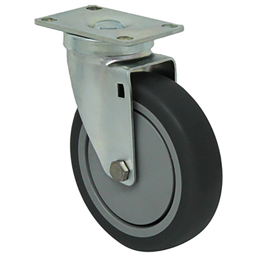 Durable Superior 5 in.  x 1 1/4 in. Light-Medium Duty Swivel Caster, Gray Thermo-Pro™ Rubber w/Dust Cover, Plate Mount