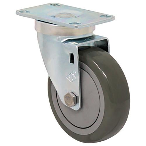 "4 x 1 1/4"" Light-Medium Duty Swivel Caster, Gray Poly -Pro™ w/Dust Cover, Plate Mount"