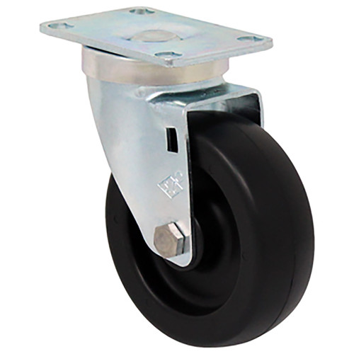 Durable Superior 4 in.  x 1 1/4 in. Light-Medium Duty Swivel Caster, Black Polyolefin w/Dust Cover, Plate Mount