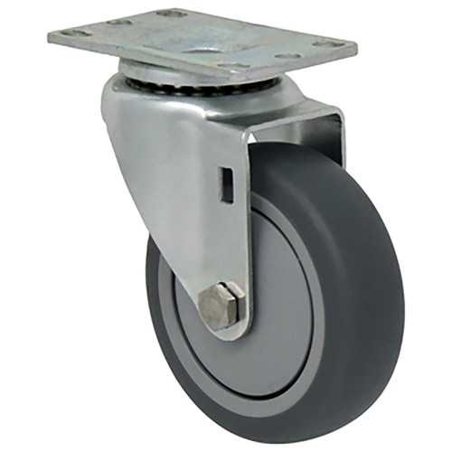 "4 x 1 1/4"" Light Duty Swivel Caster, Gray Thermo-Pro™ Rubber , Plate Mount"