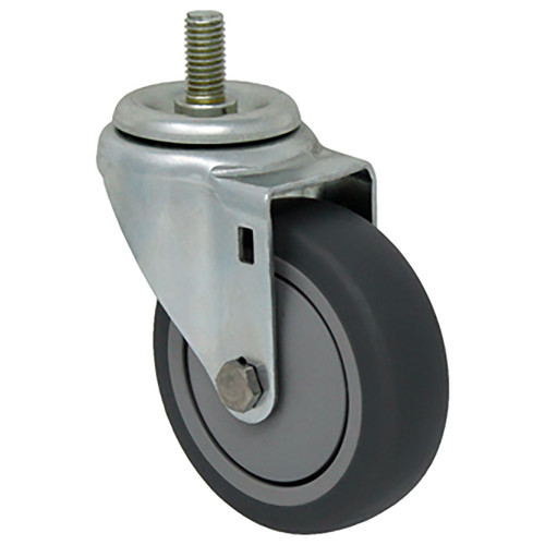 Durable Superior 4 in.  x 1 1/4 in. Light Duty Swivel Caster, Gray Thermo-Pro™  Rubber , Threaded Stem