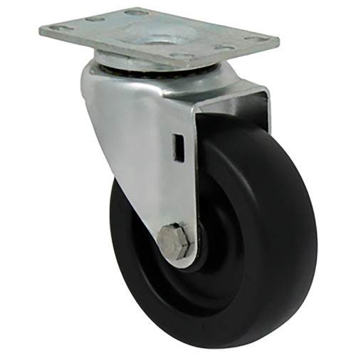 Durable Superior 4 in.  x 1 1/4 in. Light-Medium Duty Swivel Caster, Black Plastic , Plate Mount