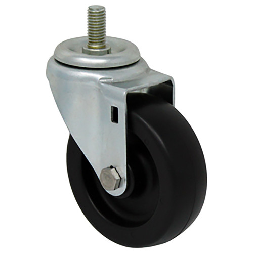 Durable Superior 4 in.  x 1 1/4 in. Light-Medium Duty Swivel Caster, Black Plastic , Threaded Stem