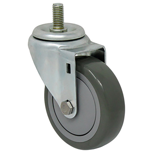 Durable Superior 4 in. x 1 1/4 in. Light Duty Swivel Caster, Gray Polyurethane , Threaded Stem Mount