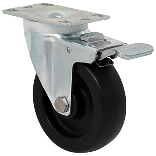 Durable Superior 4 in.  x 1 1/4 in. Light-Medium Duty Swivel Caster w/ Total Lock Brake, Polyolefin , Plate Mount