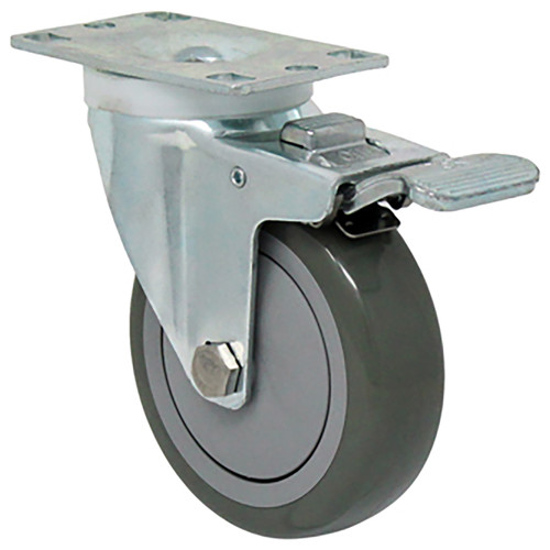 Durable Superior 4 in.  x 1 1/4 in. Light-Medium Duty Swivel Caster w/Total Lock Brake, Black Poly-Pro™ Rubber , Plate Mount