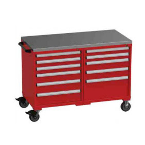 Borroughs Side-by-Side Mobile Drawer Cabinet w/Stainless Steel Top, 11 Drawers, Red