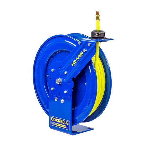 Coxreels SH Series Heavy-Duty Air Reel w/ High Visibility Safety Hose - Reel & Hose - 3/8 in. x 50 ft.