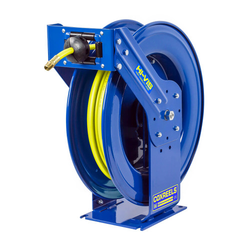 """Coxreels T Series """"Truck Mount"""" Spring Rewind Air Hose Reel w/ High Visibility Safety Hose - Reel & Hose - 1/2 in. x 50 ft."""
