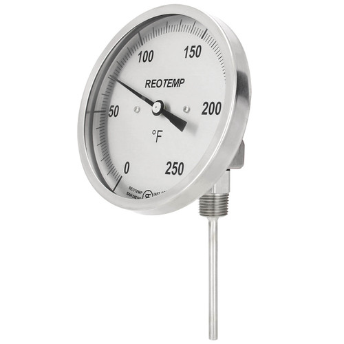 Reotemp J Series Adjustable Angle Bimetal Thermometer, 5 in. Dia. Dial, Temp Range 0° to 250°F