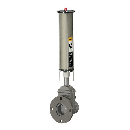 Betts Threaded Pipe x ANSI Flange Stainless Steel Pneumatic Operated Sliding Valve w/ 316 SS Stem & Gates
